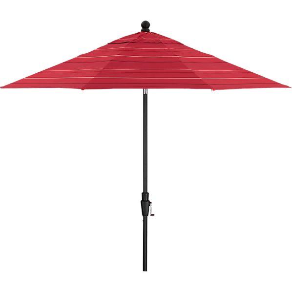 9' Round Sunbrella ® Red Tonal Stripe Umbrella with Black Frame