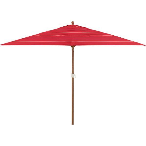 Rectangular Sunbrella ® Red Tonal Stripe Umbrella with Eucalyptus Frame