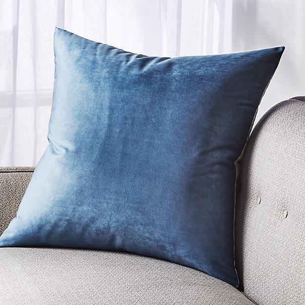 "Marlo Indigo Velvet Pillow 23"" - Image 1 of 6"