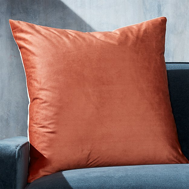 "Marlo Orange Velvet Pillow 23"" - Image 1 of 6"