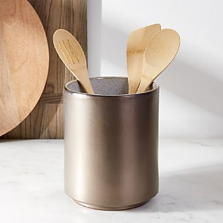 Utensil holders crate and barrel mason metallic glaze ceramic utensil holder workwithnaturefo