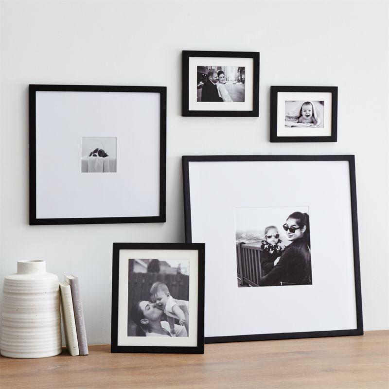 5 piece matte black picture frame set