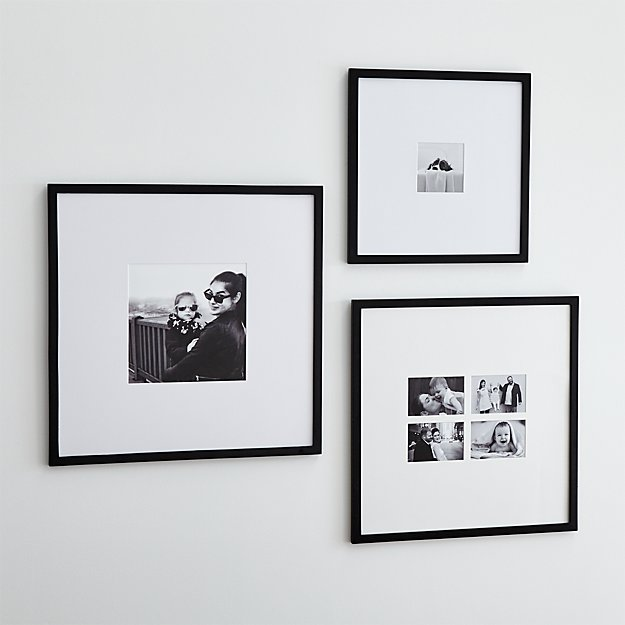 Matte black wall frames crate and barrel for Wall of framed pictures