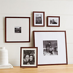 5 piece matte brown picture frame set