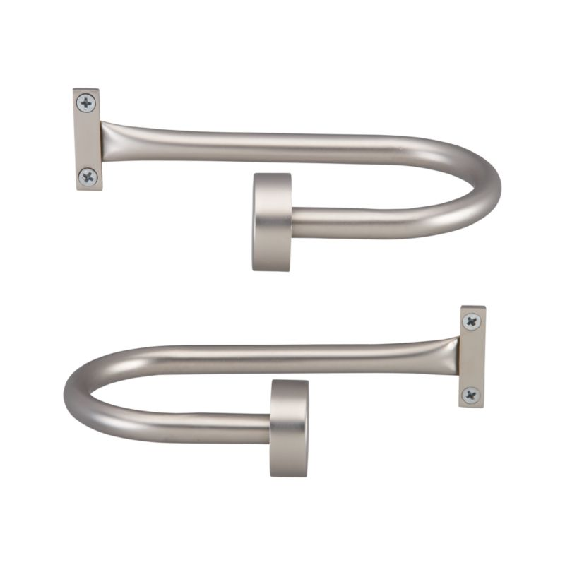 Sturdy, contemporary curtain tie backs are finished in classic matte nickel powdercoat. Coordinate with our Matte Nickel and Invisible Nickel curtain hardware collections.<br /><br /><NEWTAG/><ul><li>Steel and aluminum</li><li>Matte nickel powdercoated finish</li><li>Made in China</li></ul>