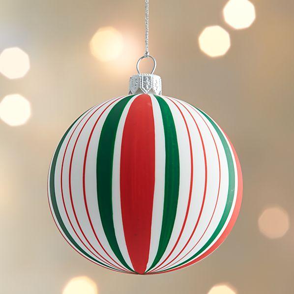 Matte Stripe Design Ball Ornament