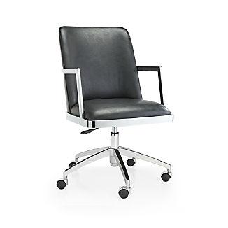 Maude Black Faux Leather Desk Chair