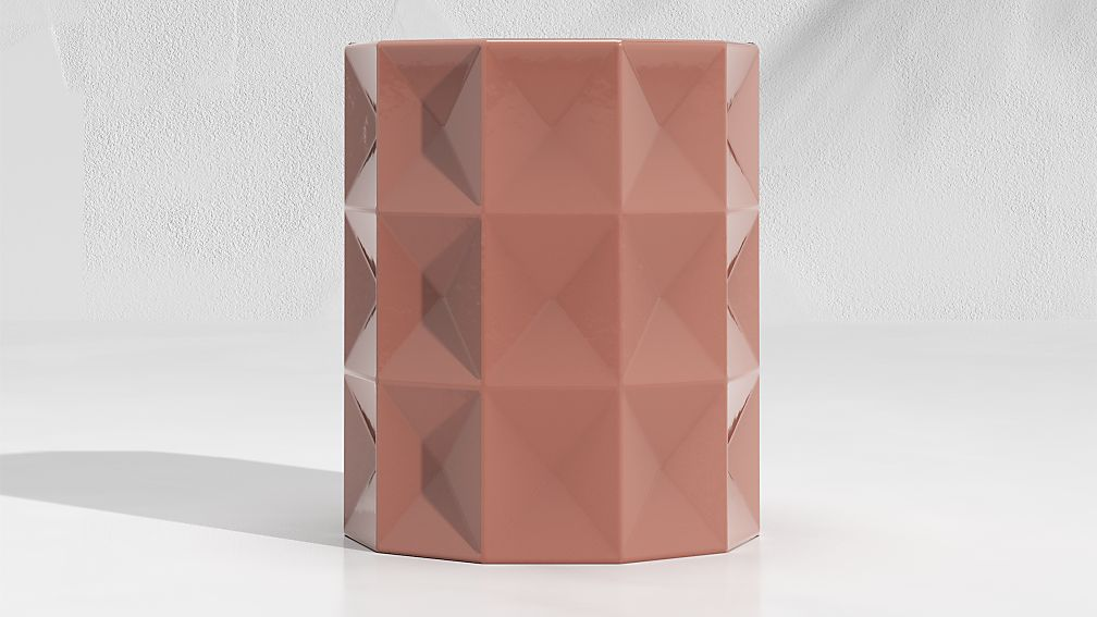 Mauve Faceted Garden Stool End Table - Image 1 of 3