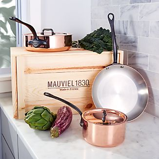 Mauviel ® M150 5-Piece Cookware Set with Wooden Crate