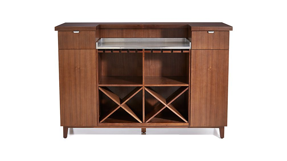 Maxine Walnut Standing Home Bar with Stainless Steel Top