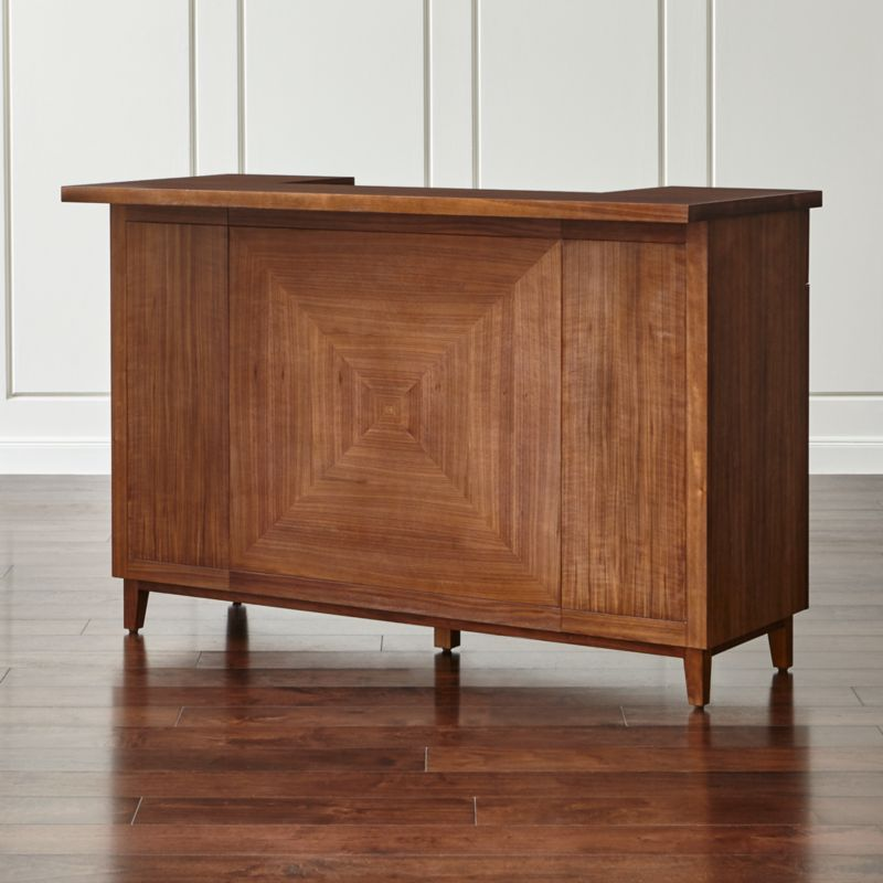 Maxine Walnut Standing Home Bar with Stainless Steel Top. Bar Furniture   Crate and Barrel