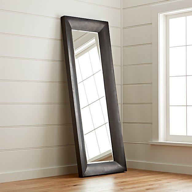 Maxx black floor mirror crate and barrel for Black framed floor mirror