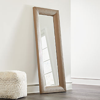 Maxx Taupe Faux Leather Floor Mirror
