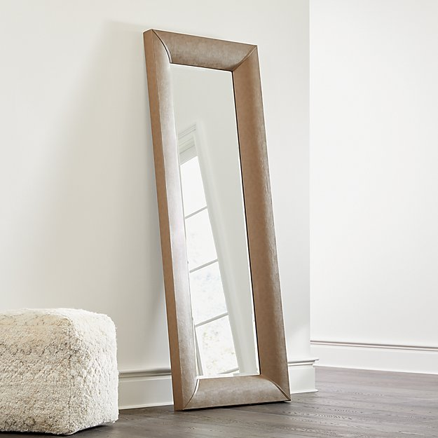 Maxx Taupe Faux Leather Floor Mirror - Image 1 of 4
