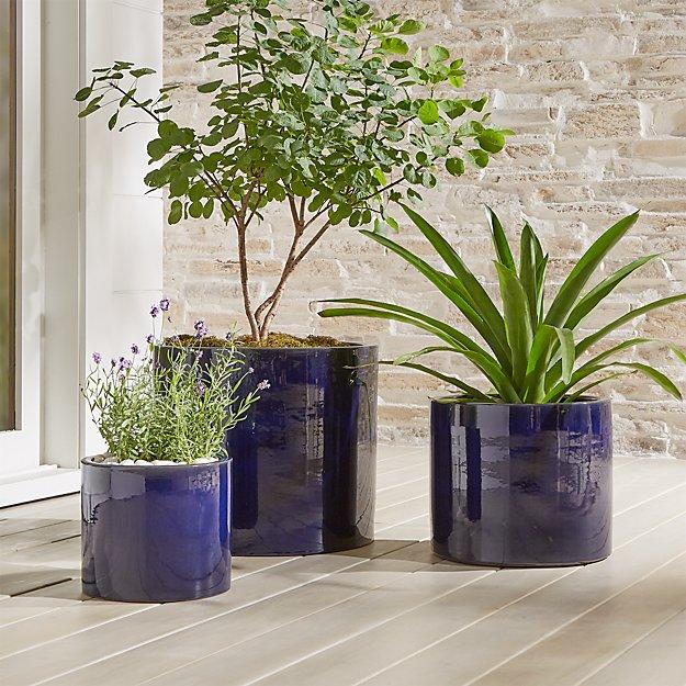 Maya Blue Ceramic Planters - Image 1 of 6