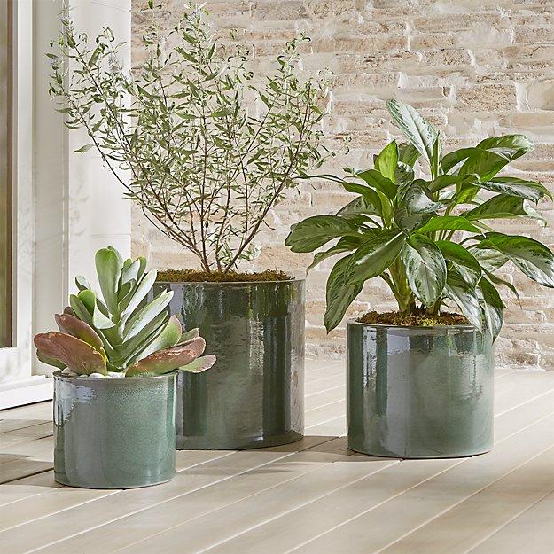 maya green ceramic planters crate and barrel. Black Bedroom Furniture Sets. Home Design Ideas