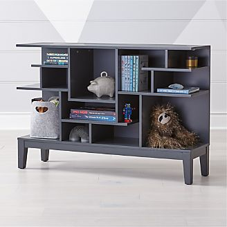 Maze Charcoal Geometric Wide Bookcase Kids