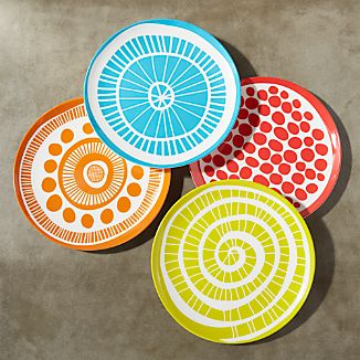 Set of 4 Medallion Melamine Plates