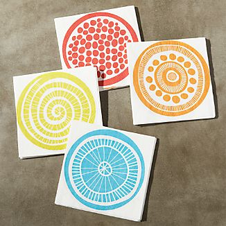 Set of 20 Medallion Paper Beverage Napkins