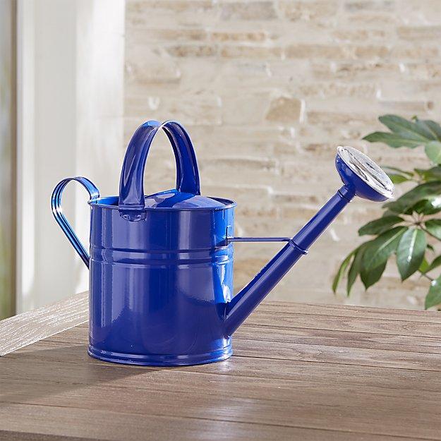 Medium Blue Metal Watering Can - Image 1 of 3
