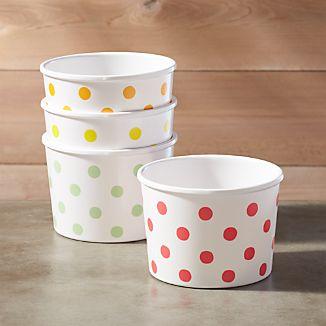 Set of 4 Melamine Ice Cream Bowls