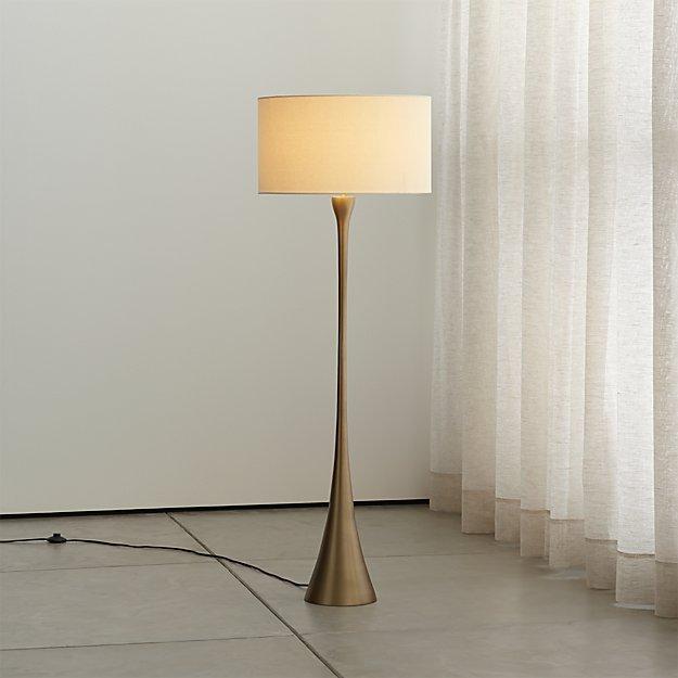 Melrose Mid Century Brass White Shade Floor Lamp