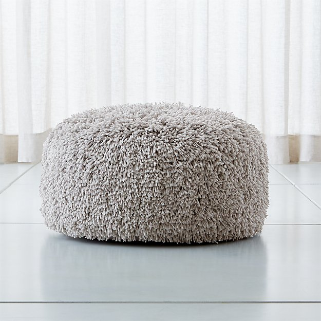"Memphis Light Grey 24"" Round Pouf - Image 1 of 3"