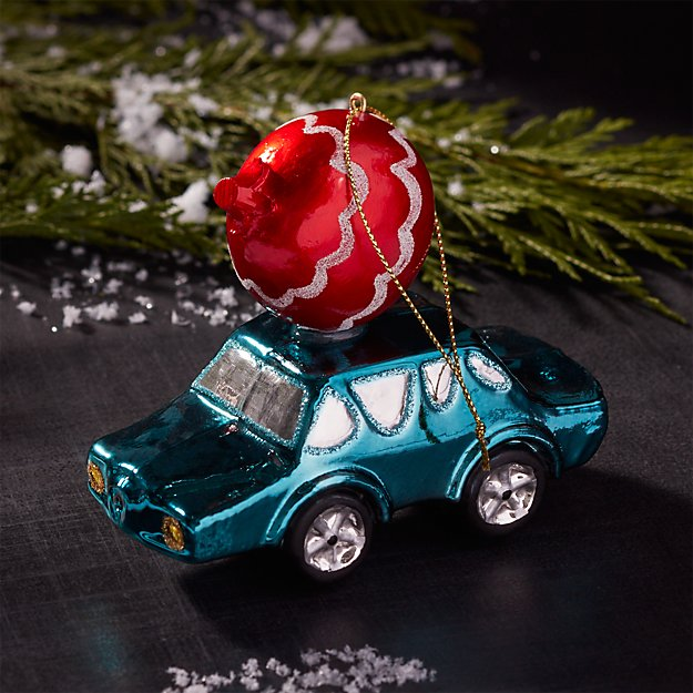 Mercury Glass Blue Car with Ball Ornament