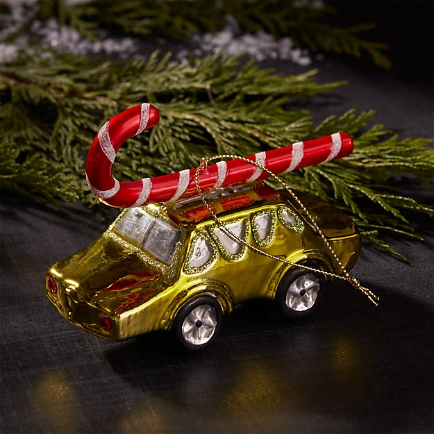 Mercury Glass Green Car with Candy Cane Ornament