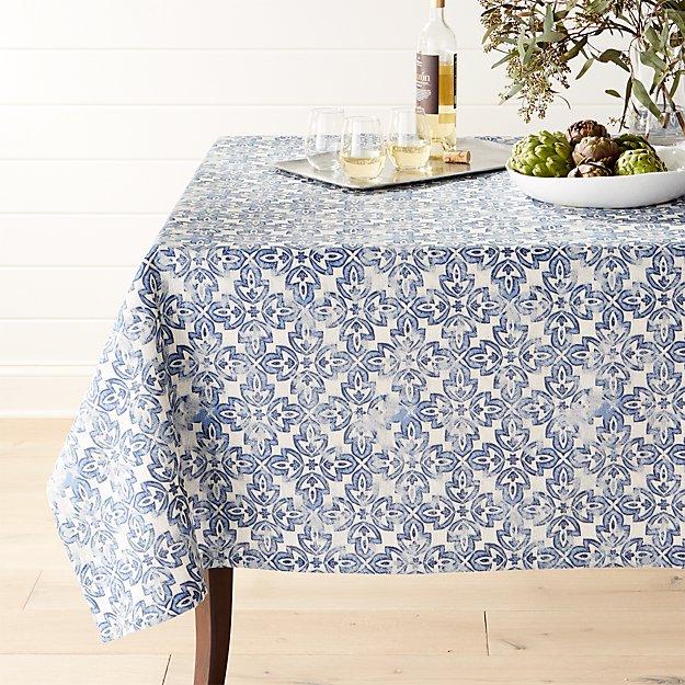 """Mercato Indigo 60""""x90"""" Tablecloth"""