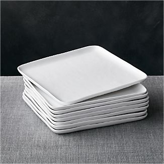 Set of 8 Mercer Square Dinner Plates & Square Dinnerware | Crate and Barrel