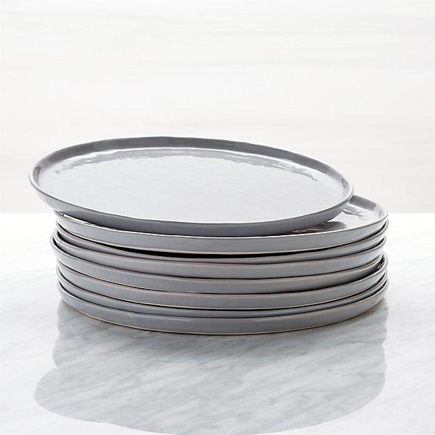 Mercer Grey Round Dinner Plates, Set of 8 - Image 1 of 3