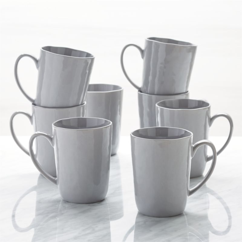 Mercer Grey Mugs Set Of 8 Reviews Crate And Barrel
