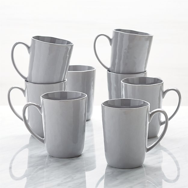 coffee mug sets mercer grey mugs set of 8 reviews crate and barrel 30017