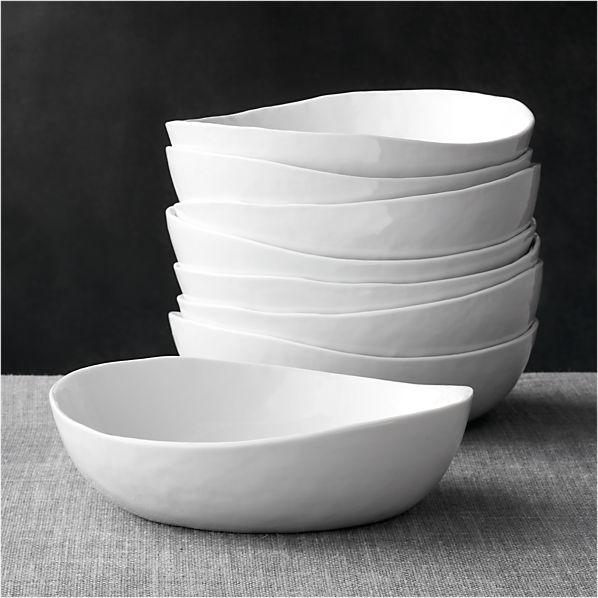 """Set of 8 Mercer 8"""" Low Bowls"""