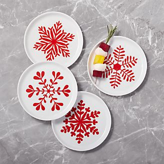 Mercer Snowflake Appetizer Plates, Set Of 4