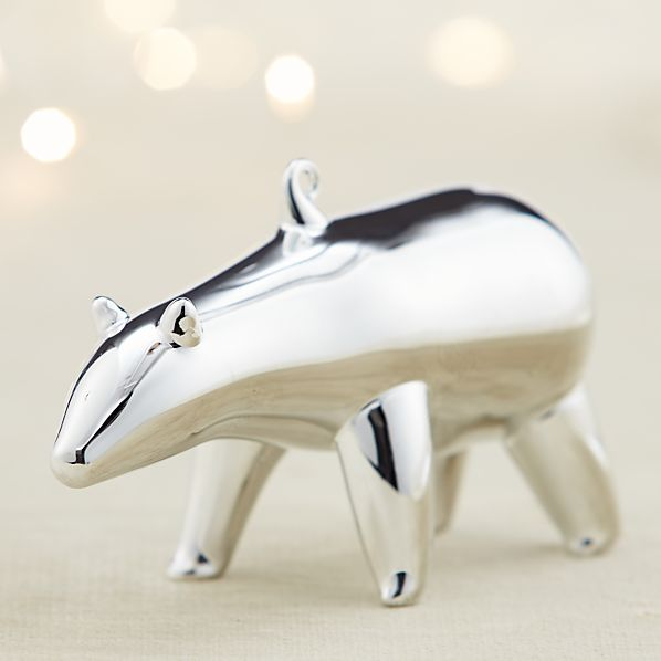 Mercury Glass Polar Bear Looking Straight Ornament