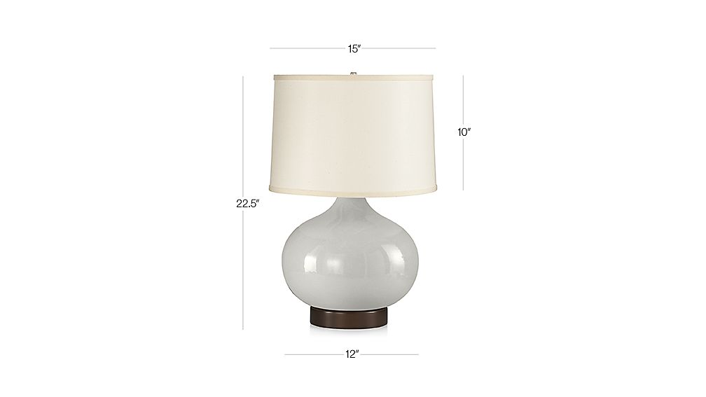 TAP TO ZOOM Image With Dimension For Merie Grey Table Lamp With Bronze Outlet  Base