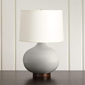 Merie Grey Table Lamp with Bronze Base