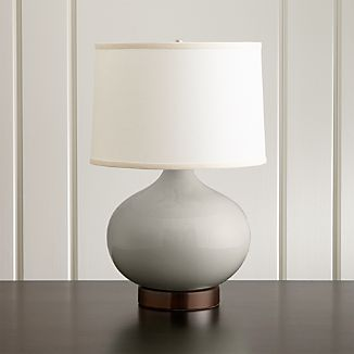 Merie Grey Table Lamp with Bronze Outlet Base