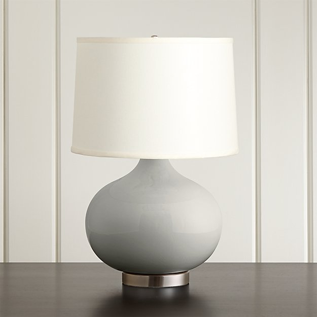 Merie Grey Table Lamp with Nickel Base