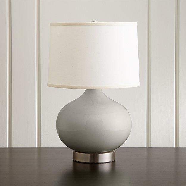 Merie Grey Table Lamp With Nickel Outlet Base Crate And