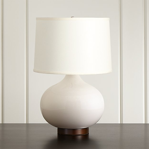 Merie Ivory Table Lamp with Bronze Base | Crate and Barrel