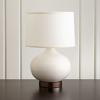 Merie Ivory Table Lamp with Bronze Outlet Base