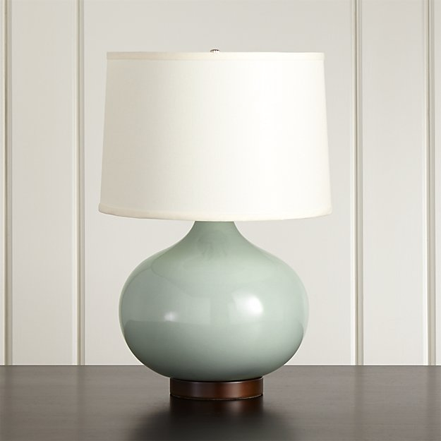 Merie Blue Table Lamp with Bronze Base - Image 1 of 12