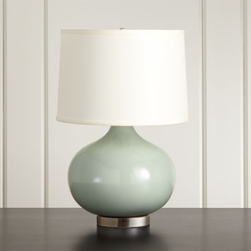 Merie Blue Table Lamp With Bronze Base In Table U0026 Desk Lamps + Reviews |  Crate And Barrel