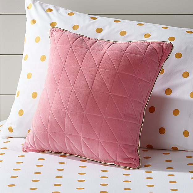 Pink Velvet Throw Pillow + Reviews | Crate and Barrel