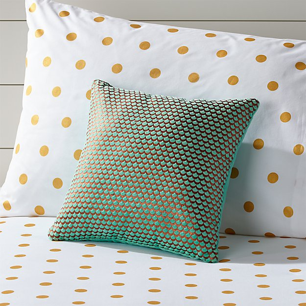 Scallop Aqua And Gold Throw Pillow Reviews Crate And Barrel