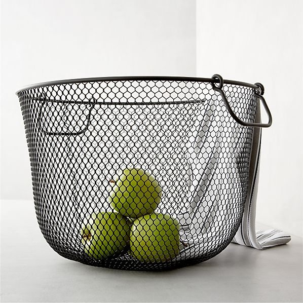 Large Black Mesh Bin with Handles