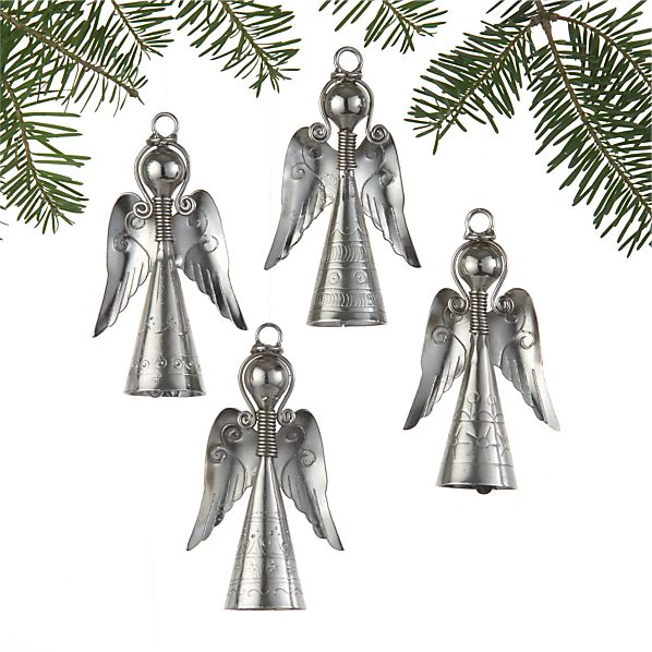 Set of 4 Angels with Bells Ornaments